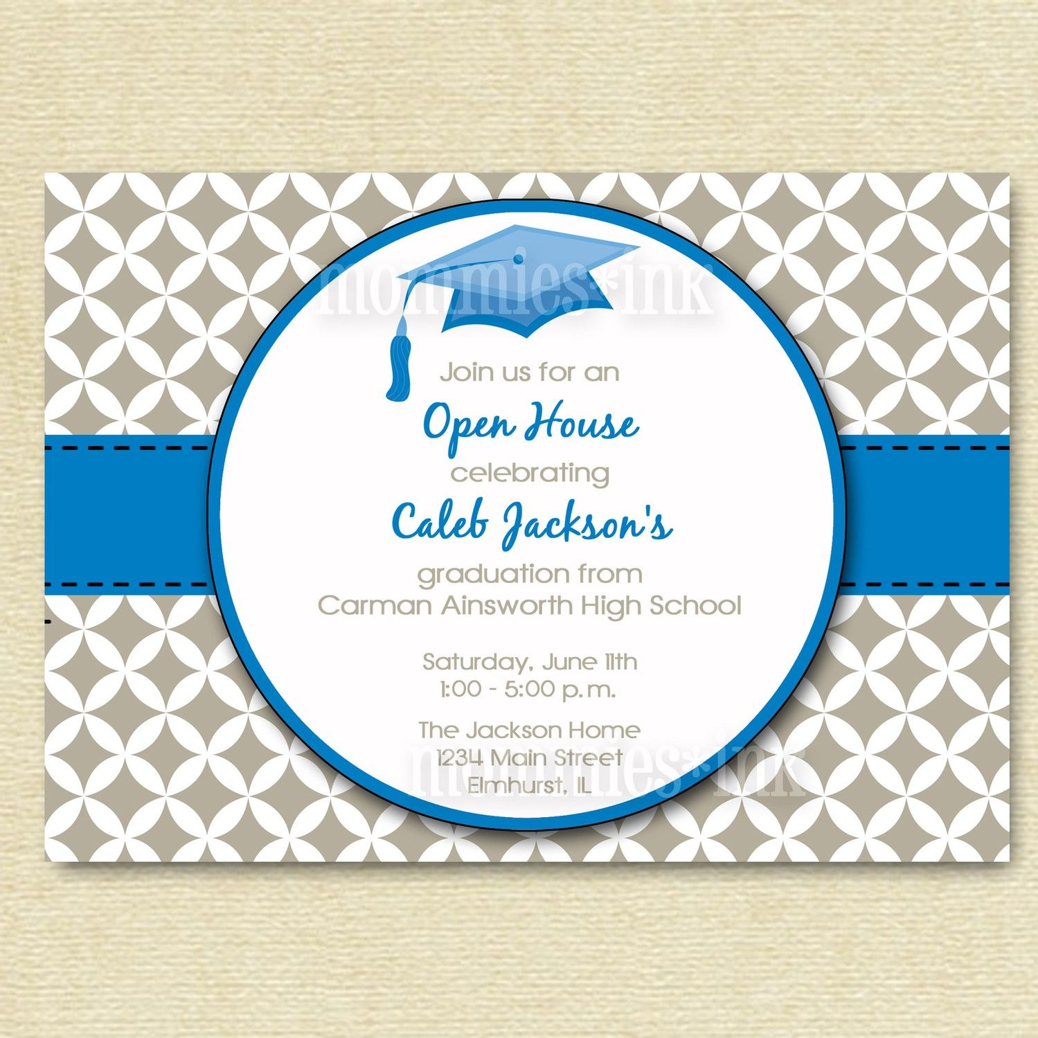 Mod Simple Quatrefoil  Graduation Open House By Mommiesink  Card