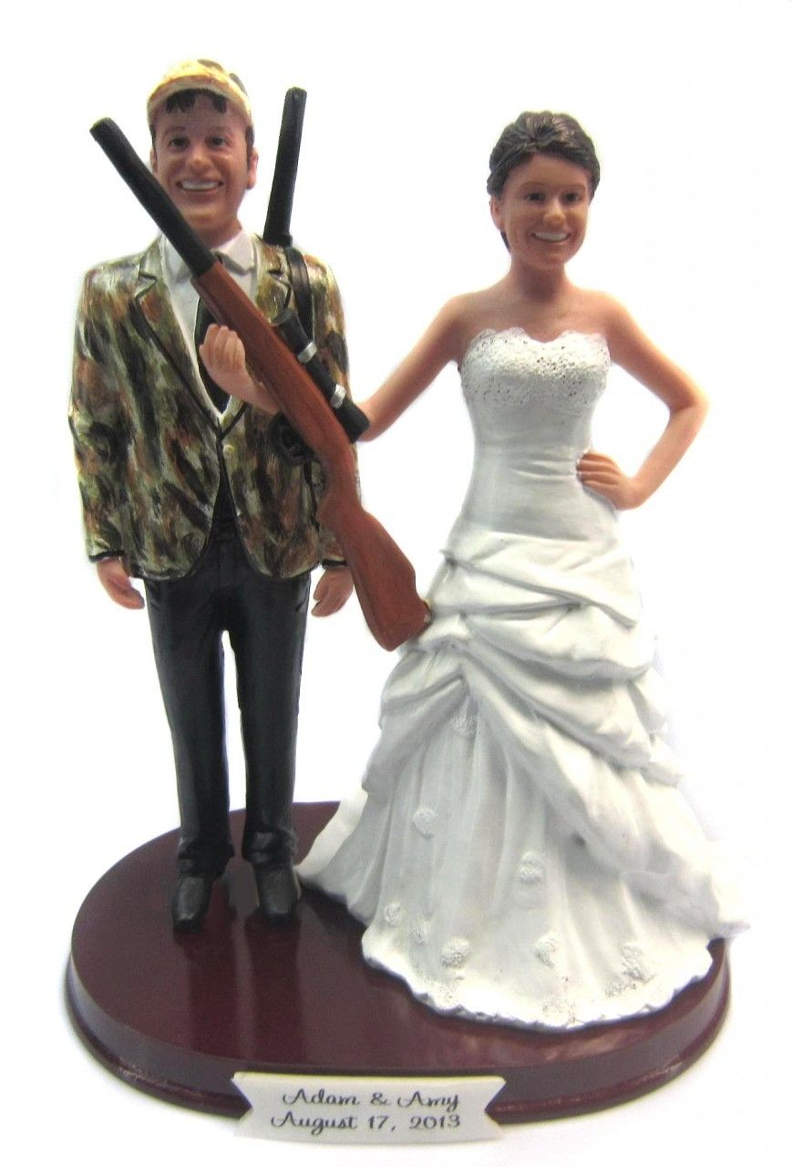 Custom Hunting Bride and Camo Groom w/ Shotguns Cake Topper Style 3 ...