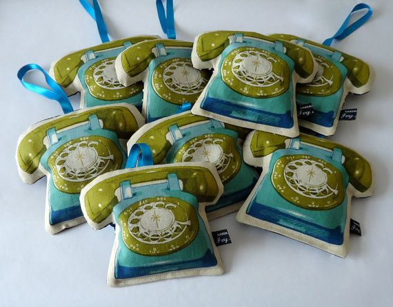 Blue/green telephone lavender bag in Melody Miller's 'Phones Go With Me' Ruby Star Sparkle fabric by IvyArch @Etsy