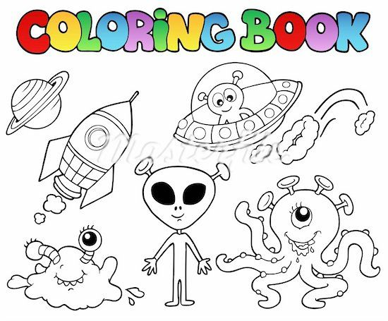 Simple Space Dwellers Coloring Pages Alien Crafts Space Theme