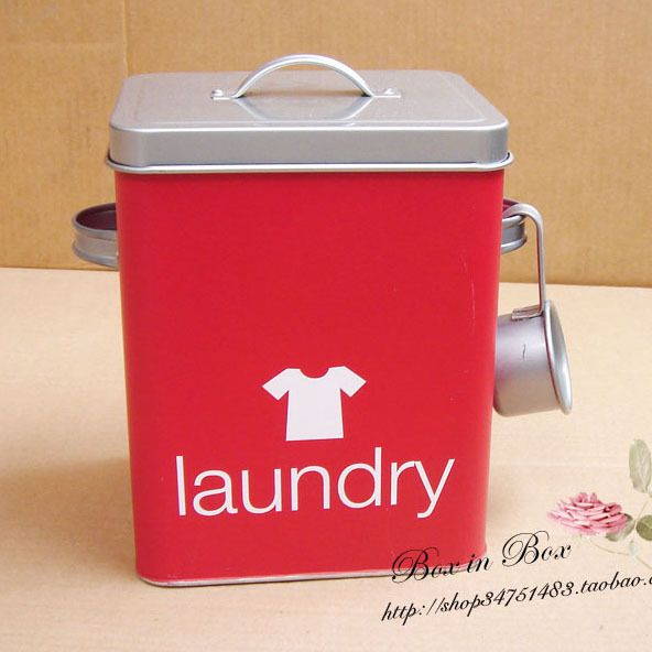 Tin Box In Washing Powder Bucket Spoon Laundry Storage Us