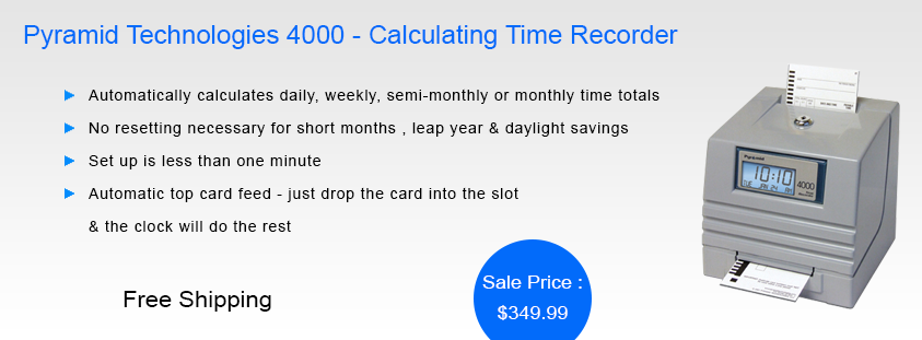Pyramid Technologies 4000 Calculating Time Recorder Technology Time Clock Calculator