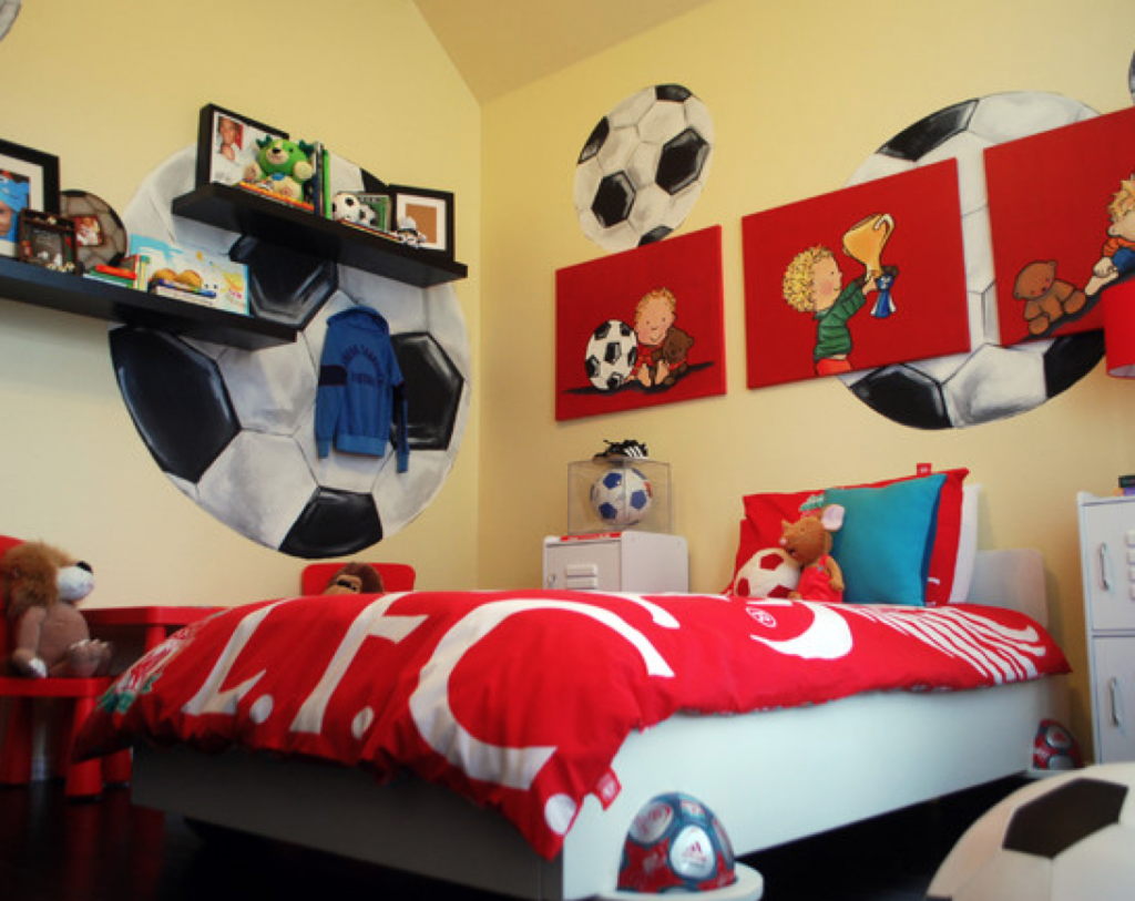 Cool Boys Bedroom Decorating Ideas With Unique Wall Arts: Cheerful Soccer  Themed Boys Bedroom Decorating Ideas Displaying Ball Decals And Re.