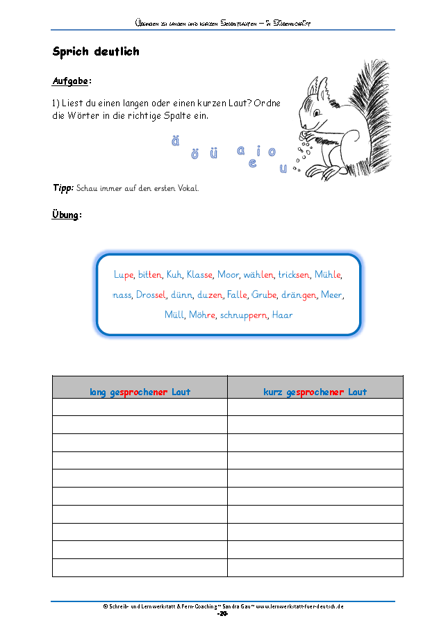 Übungen zu b oder d | Selbstlaute, Aussprache und Lesen lernen
