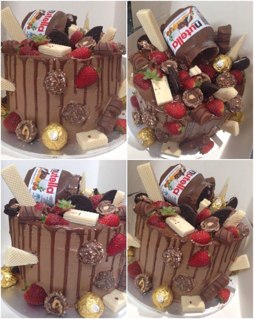 Chocolate Nutella drip cake filled with fresh cream | Drip ...