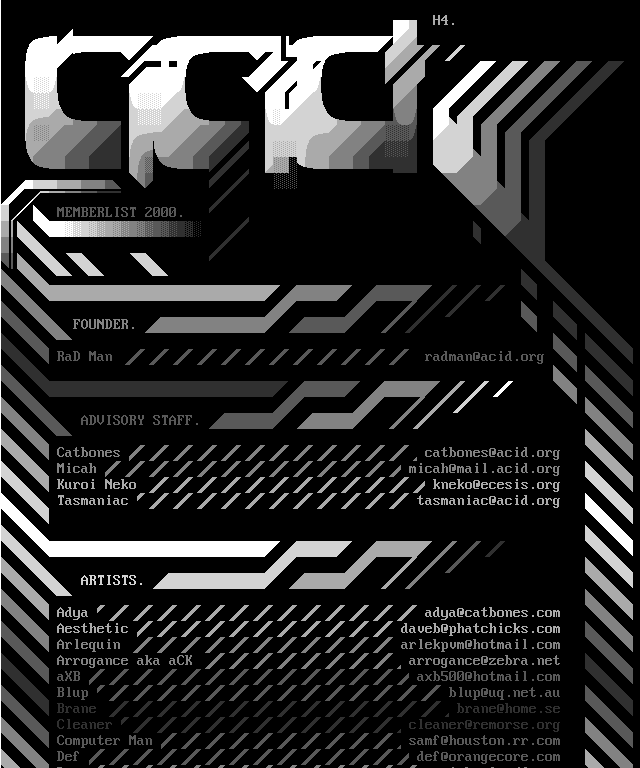 ACiD logos in xbin, a variation of ANSI where you can change the font and use more colours. More xbin graphics over at sixteencolors.net.