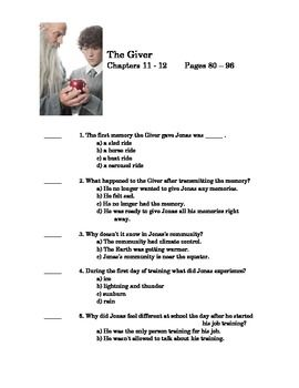 The giver by lois lowry quiz on chapter 11 and 12 language arts the giver quiz chapter 11 and 12 fandeluxe Choice Image