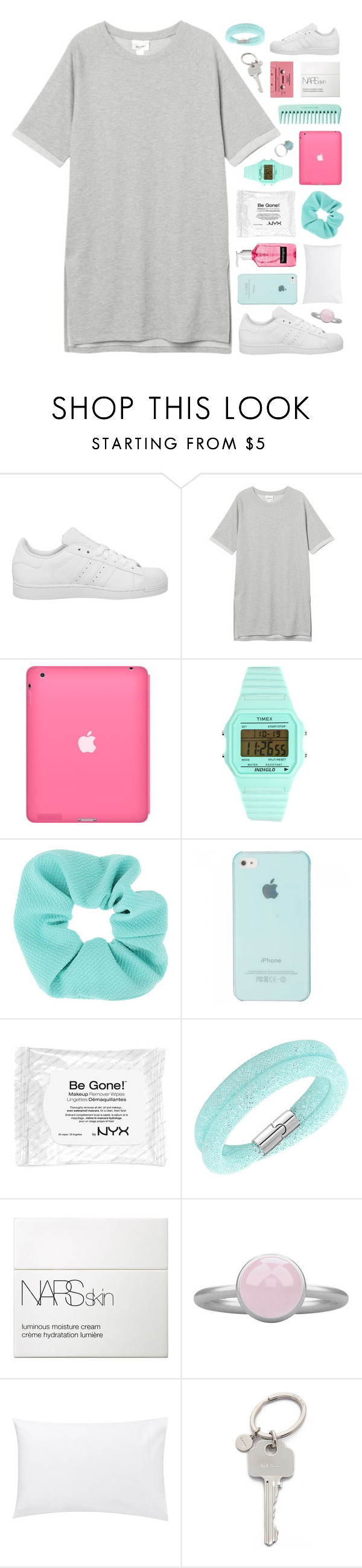 """""""mari"""" by le-rosie ❤ liked on Polyvore featuring adidas, Monki, Timex, Topshop, Swarovski, NARS Cosmetics, Pieces, Jigsaw and Paul Smith"""