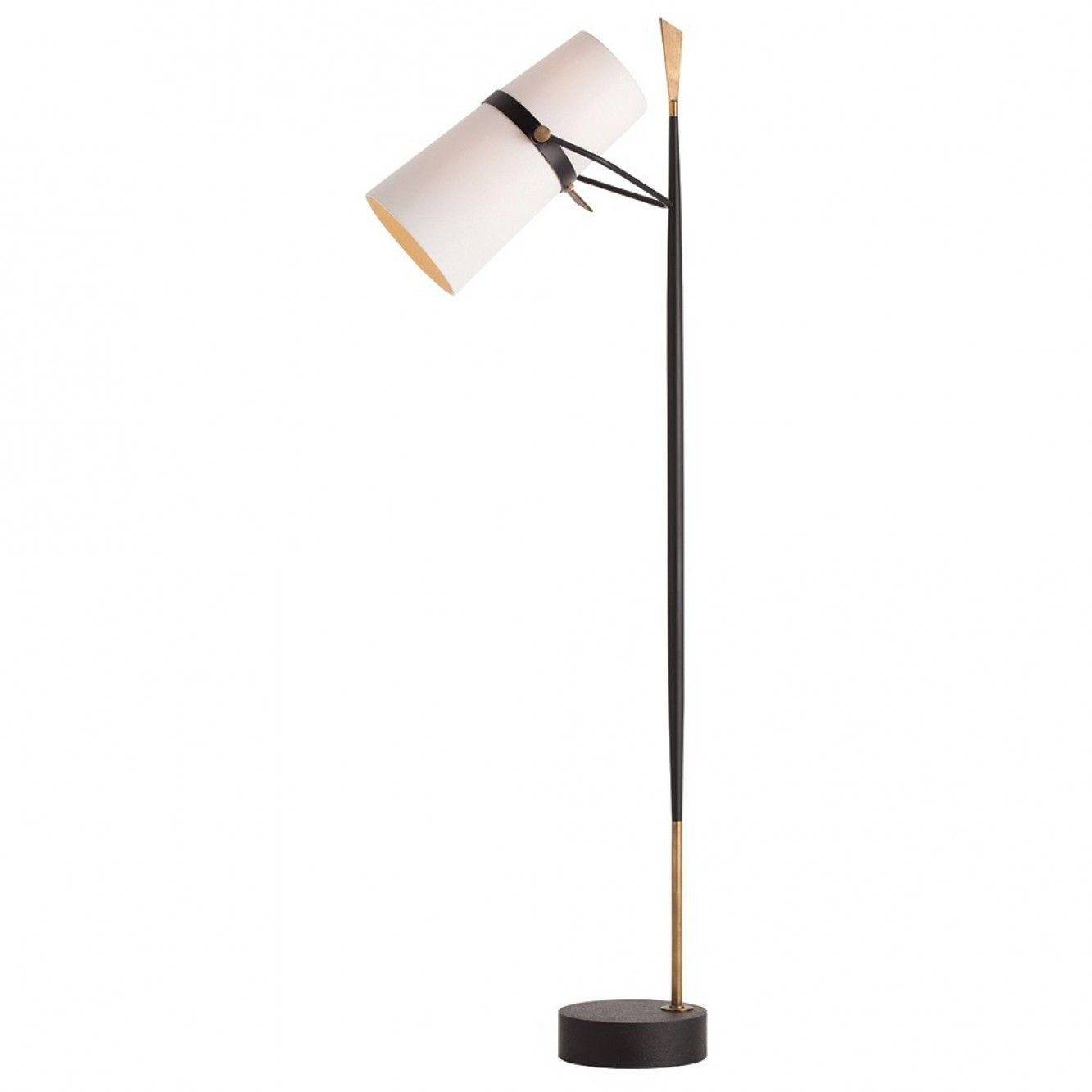 Modern floor lamp with a black iron tapered slender vertical rod and a blade shaped vintage brass finish finial a white linen cylindrical double shade with