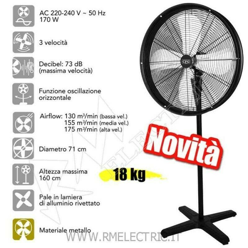 Ventilatore A Piantana In Metallo 170w O 71 Oscillante Hurricane New Cfg Ev065 Ventilation Chauffage