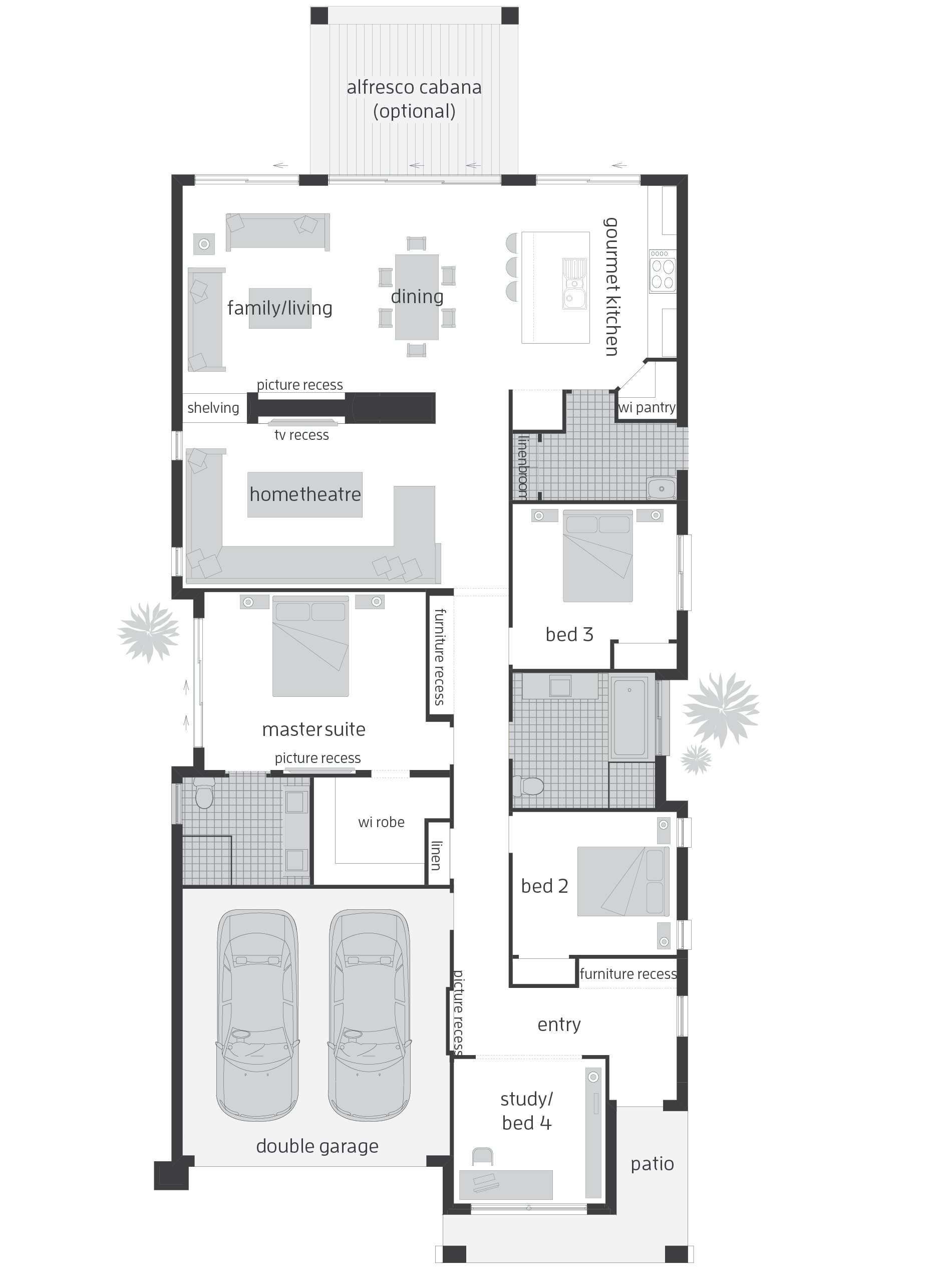 Infinity one narrow block home floor plan floor plans for Minimalist narrow house plans