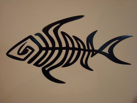 Contemporary Metal Art Fish Skeleton Wall Garden Sculpture Solid Steel Made In Usa