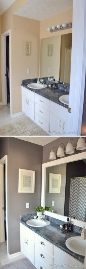 Bathroom Mirror Makeover before and after: 31 amazing bathroom makeovers | bathroom mirror