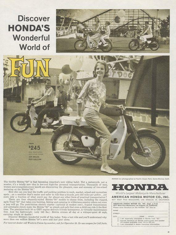 1962 50 Honda moto annonce femme équitation moto Photo publicité