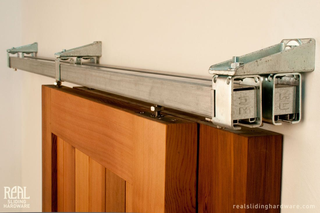 Real sliding hardware box rail bypass barn door hardware for Dual track barn door hardware