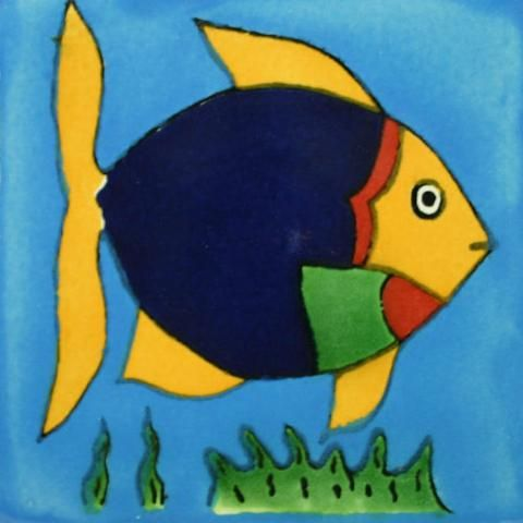 Delightful Traditional Decorative Mexican Tile   Angel Fish