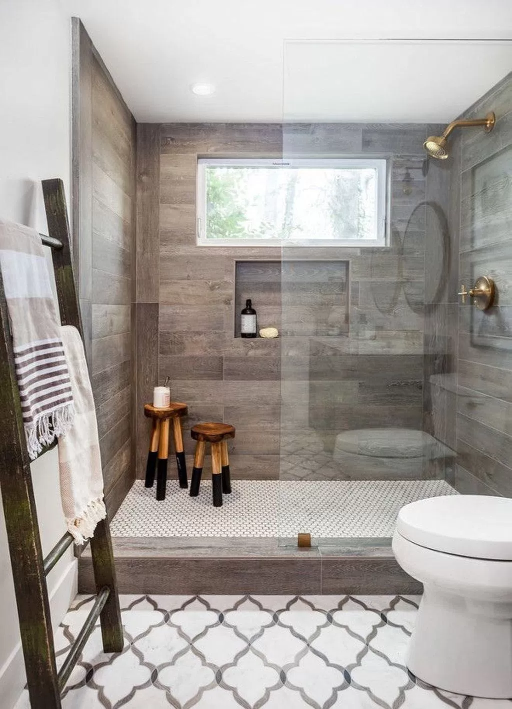 Like The Wood Look Tile Coordinates Nicely With A Patterned Floor Tile Farmhouse Master Bathroom Bathroom Remodel Master Small Bathroom Remodel
