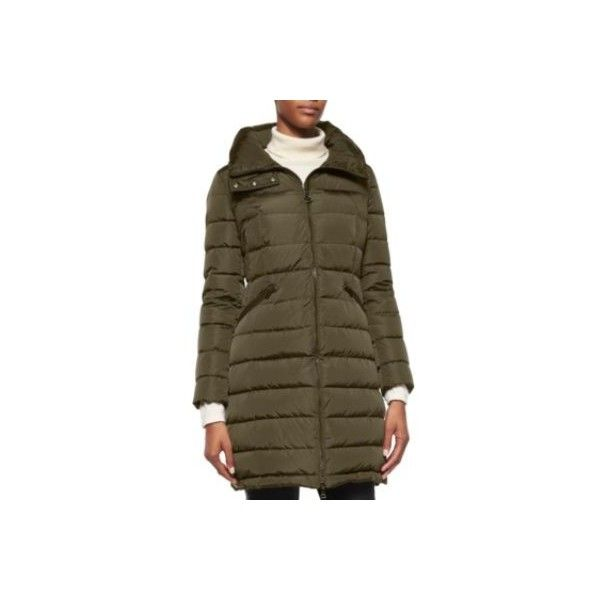 Moncler Flammette High-Neck Puffer Coat ($1,300) ❤ liked on Polyvore featuring outerwear