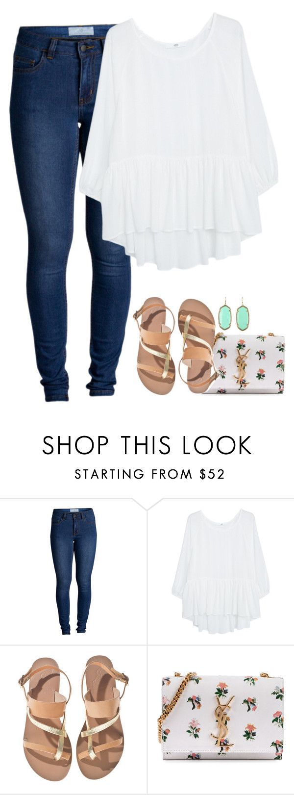 """""""Counting down the days until my bae summer is back..."""" by meljordrum ❤ liked on Polyvore featuring Pieces, MANGO, Ancient Greek Sandals, Yves Saint Laurent and Kendra Scott"""