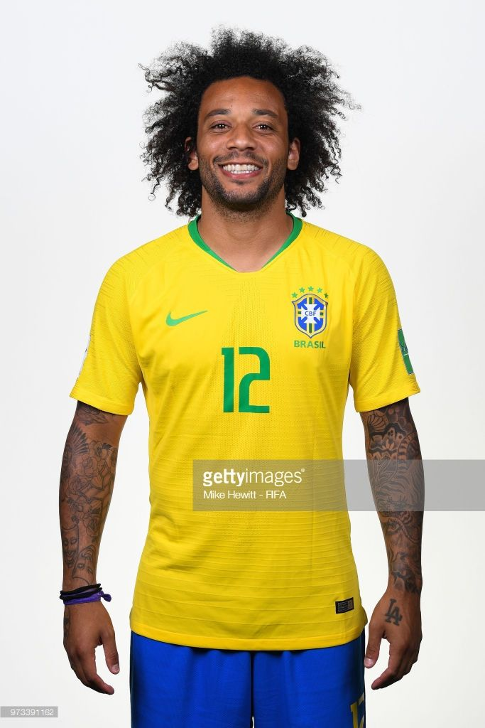 c9ac381f4 Marcelo of Brazil poses for a portrait during the official FIFA World Cup  2018 portrait session at the Brazil Team Camp on June 12