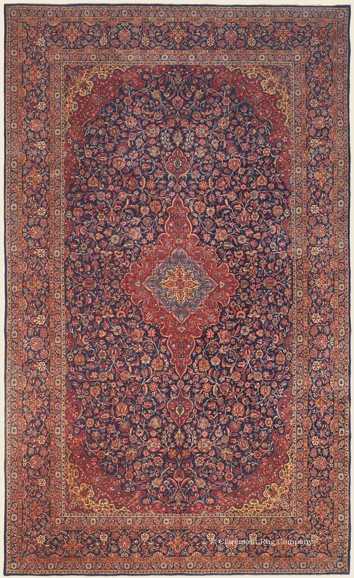 Kashan Central Persian Antique Rug 10 1 X 16 7 Circa 1925 Claremont Rug Company Persian Carpet Rugs Kashan Rug