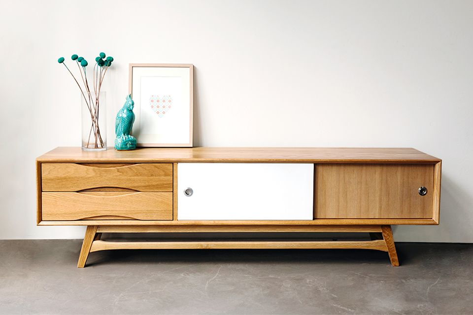 Retro Solid American Oak Cabinet