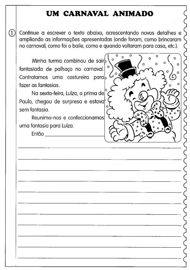 Textos E Producao De Texto Carnaval Com Imagens Texto Sobre