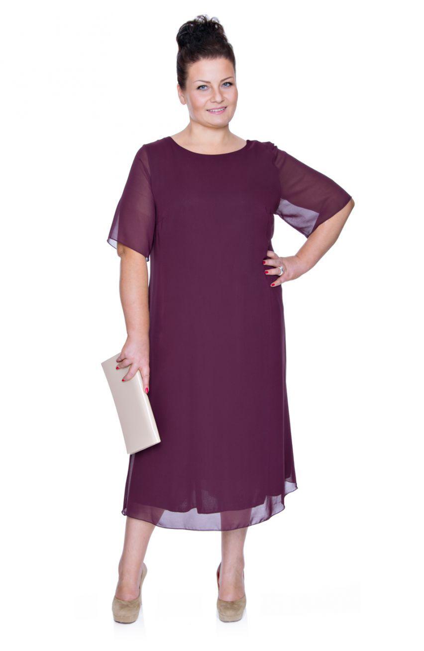 76525292c5 Zwiewna śliwkowa sukienka - Modne Duże Rozmiary