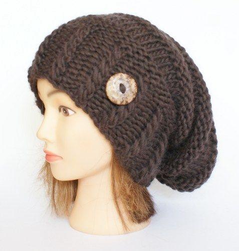107161641a8 Slouchy beanie hat knit dark brown 100% wool Irish slouch hats women ...