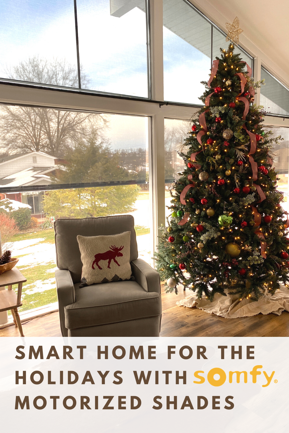 Motorized Shades Make The Holiday Season Merry And Bright Motorized Window Coverings Merry And Bright Curtains With Blinds