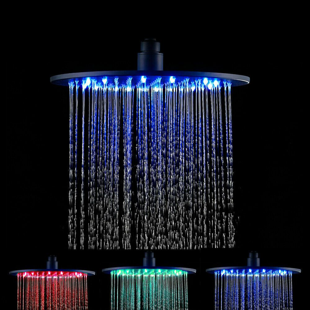 16 Led Shower Head Brass Top Rain Shower Wall Ceiling Mount Oil