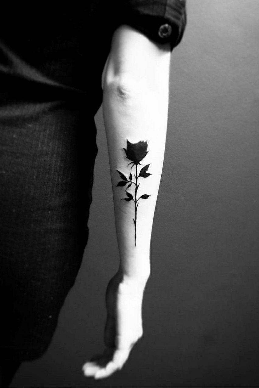 Black rose tattootatouage flowertattoo rosetattoo