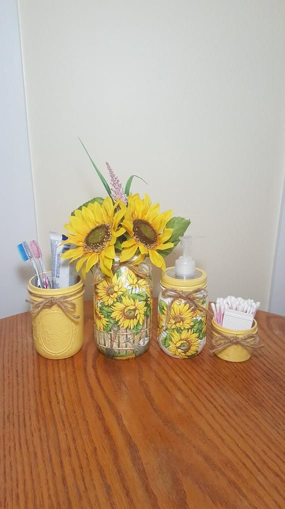 Photo of SUNFLOWER garden Bathroom Set, Mason Jar Set, Decoupage Jar, Bathroom Organizer,Bathroom Decor,Bathroom Storage, Yellow Bathroom Decor