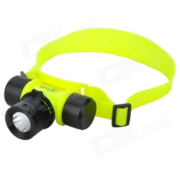 200lm 3-Mode White Diving Flashlight - Black + Luminous Yellow (1 x 18650 / 3 x AAA)
