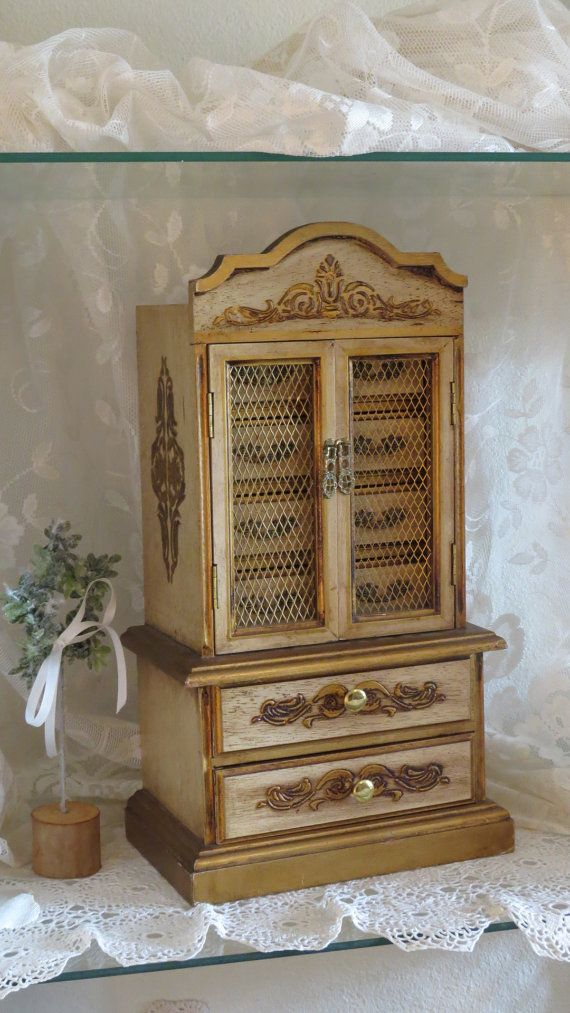 All Wood Jewelry Armoire ~ Large jewelry armoire box florentine wooden