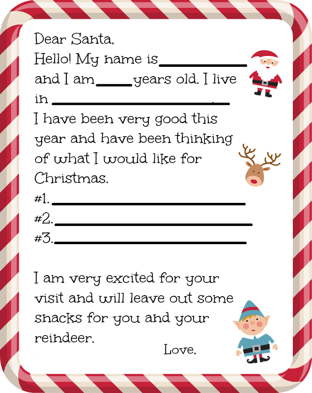 Free Printable Santa Letter Free Printable Santa Letters Dear Santa Letter Santa Letter Template