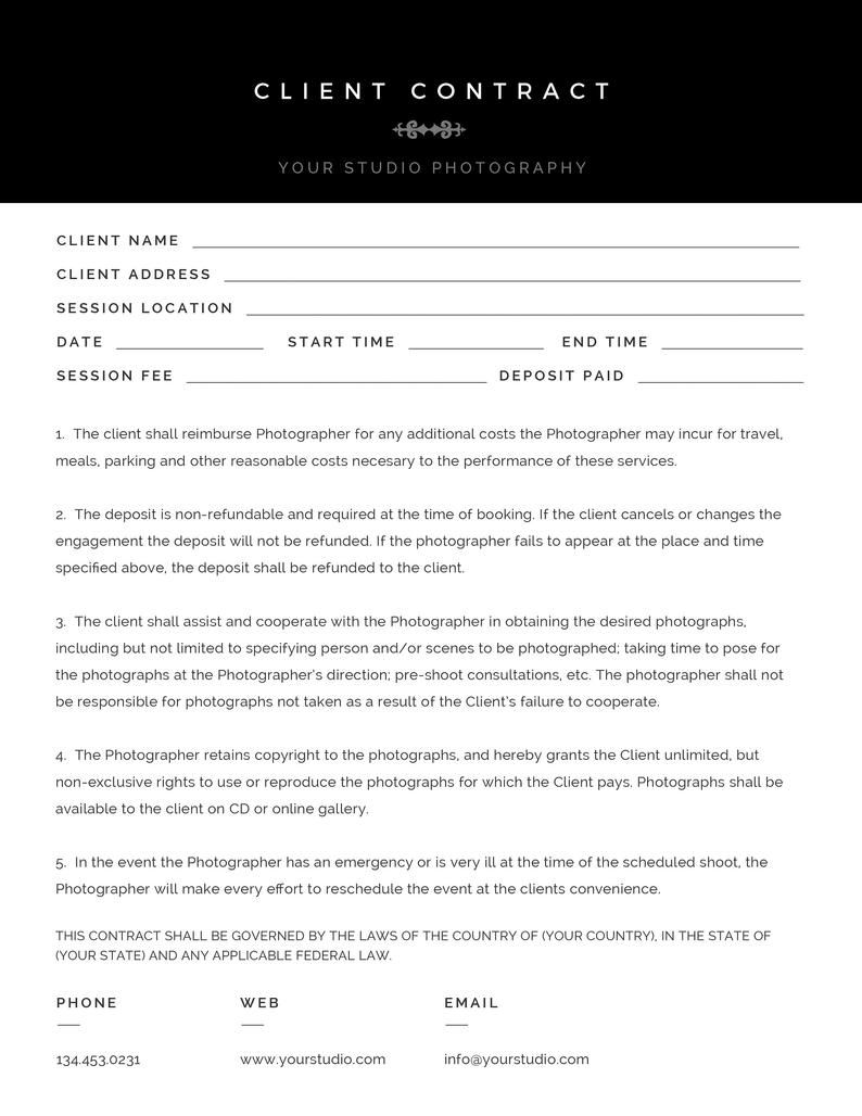 Modern Black White Photography Client Contract Session Etsy In 2021 Client Contracts Contract Template Photography Contract