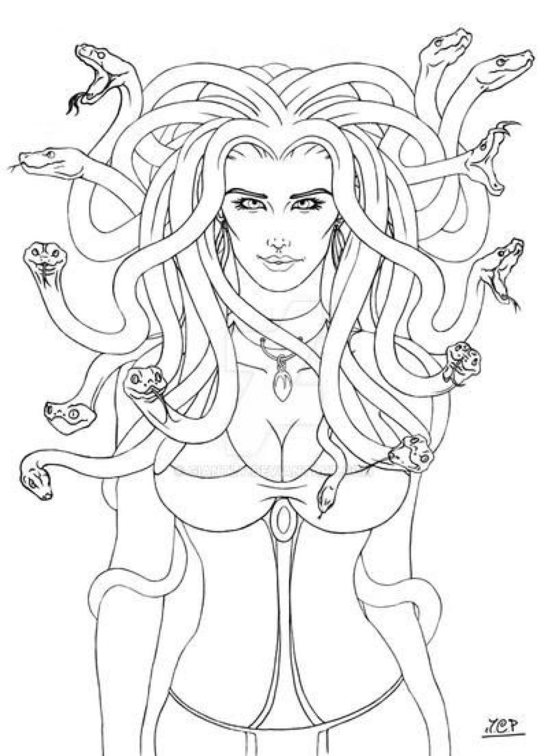 Medusa Line Art By Giantly On Deviantart In 2020 Coloring Pages Medusa Art Medusa Drawing