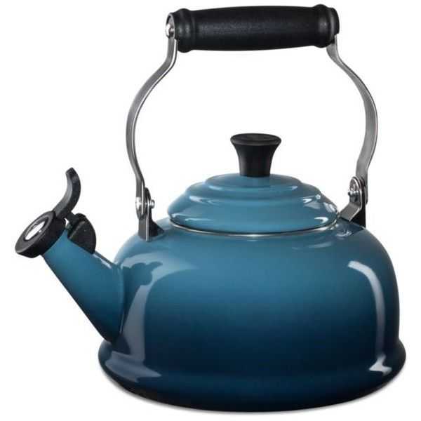 Le Creuset Marine Blue Classic Whistling Tea Kettle 315 Brl Liked On Polyvore Featuring Home Kitchen Din Stovetop Kettle Whistling Tea Kettle Tea Kettle