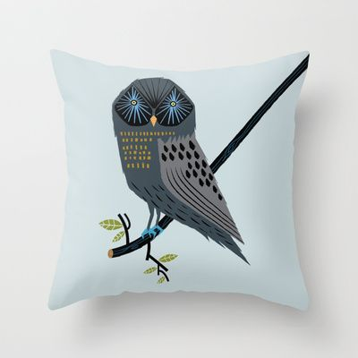 The Perching Owl Throw Pillow by Oliver Lake - $20.00