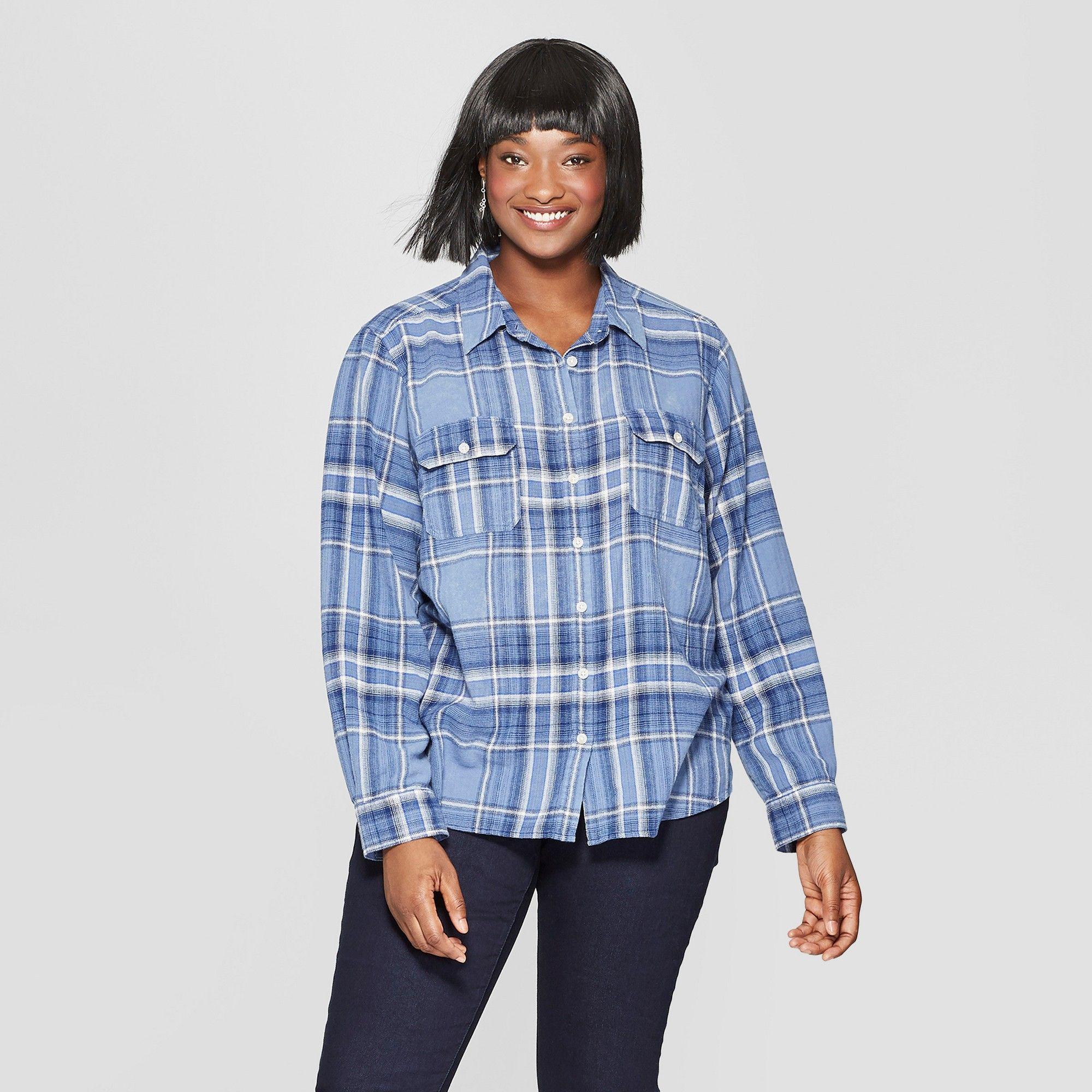 0d5dd978 Women's Plus Size Plaid Long Sleeve Flannel Shirt - Universal Thread Blue X