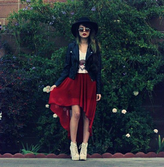 Hat, Sunglasses, Leather Jacket, Tevin Vincent Long Blue Necklace, Deer T Shirt, A Line Skirt, Shoes