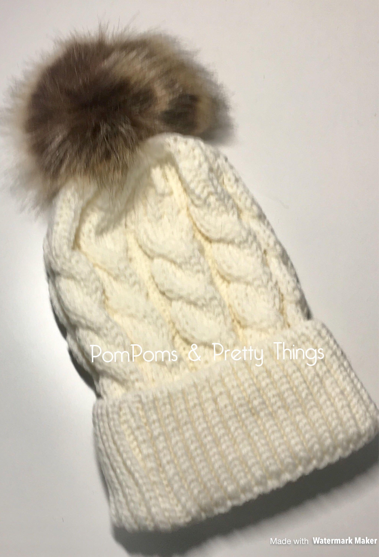 dc279e6a6ce Cream PomPom Hat