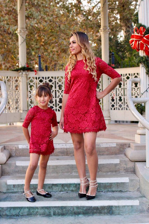 Red, Lace Dress,mommy and me, matching outfits, mother daughter ...