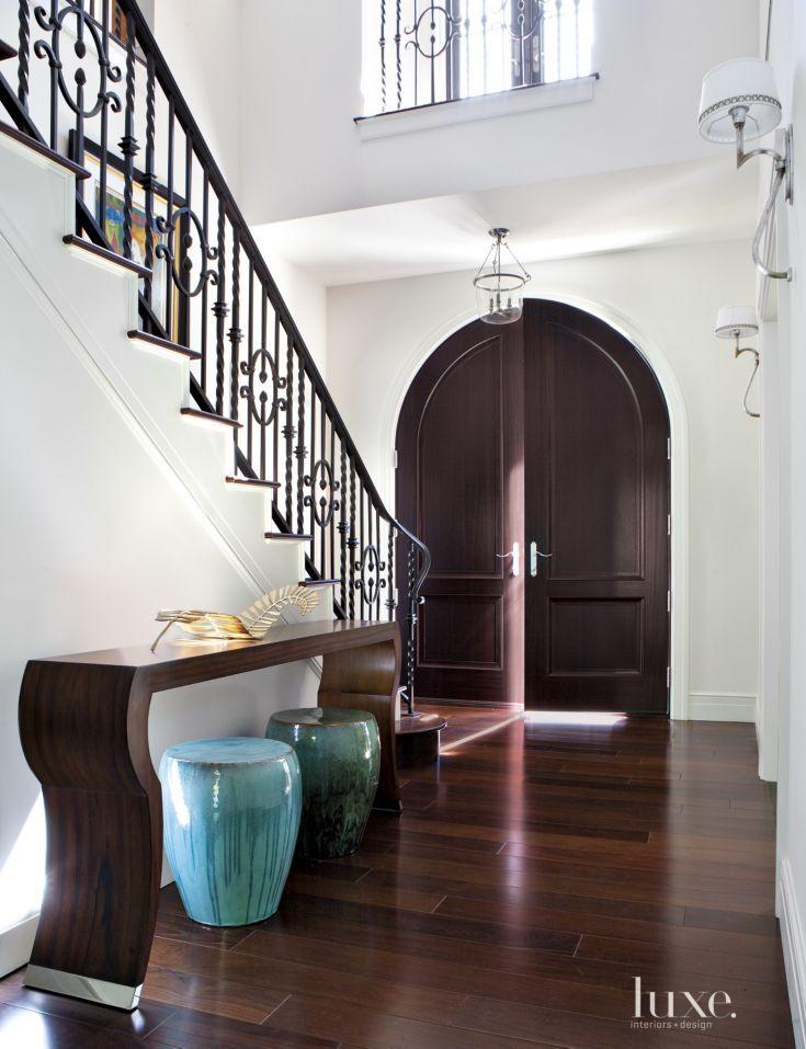 Transitional White Entry With Brazilian Walnut Flooring Luxe Interiors Brazilian Walnut Floors Walnut Hardwood Flooring