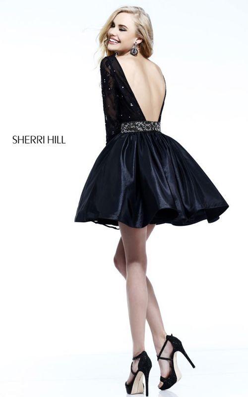 Black Sherri Hill 21215 Lace Sleeved Prom Dress
