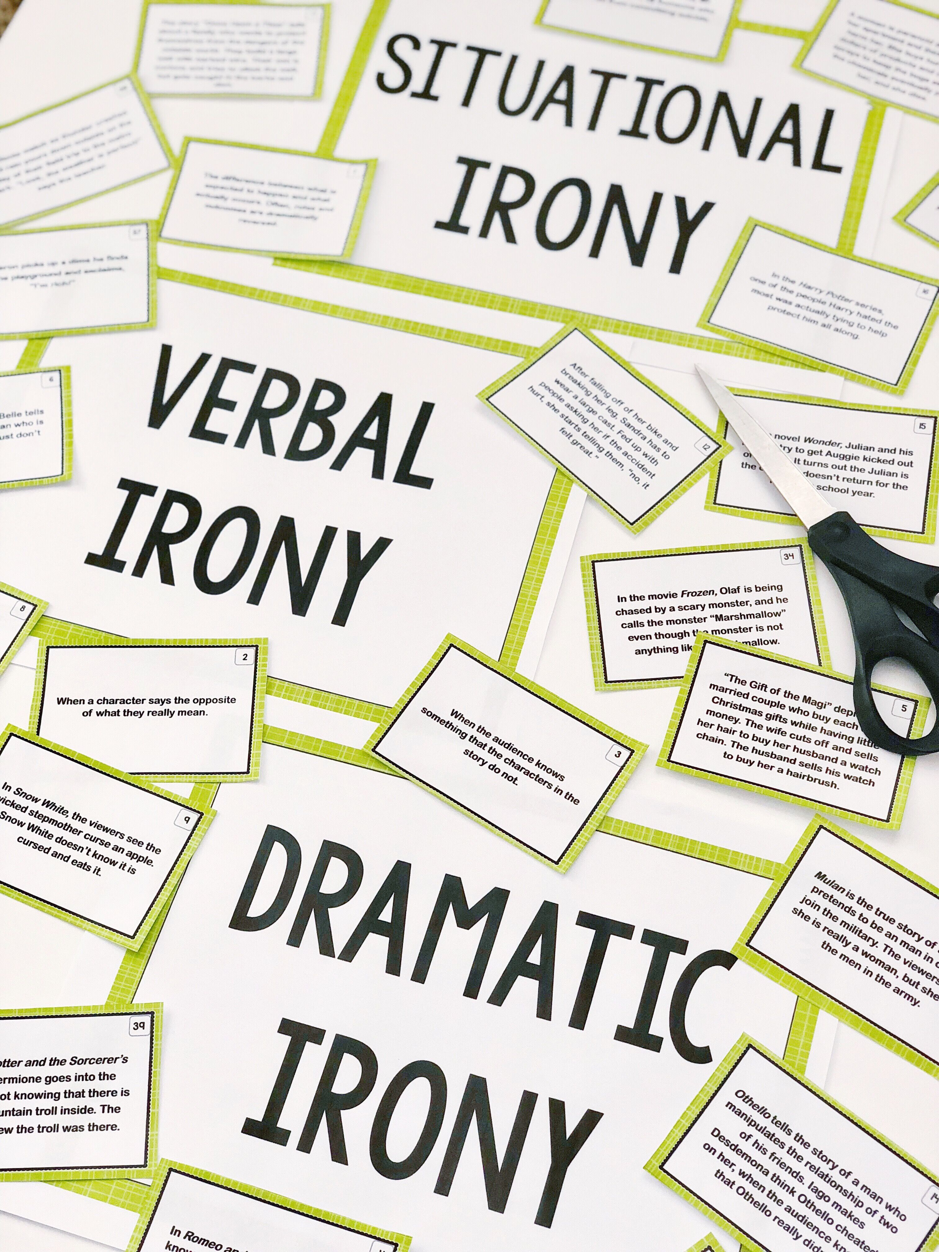 Types Of Irony Sort 50 Card Sorting Activity