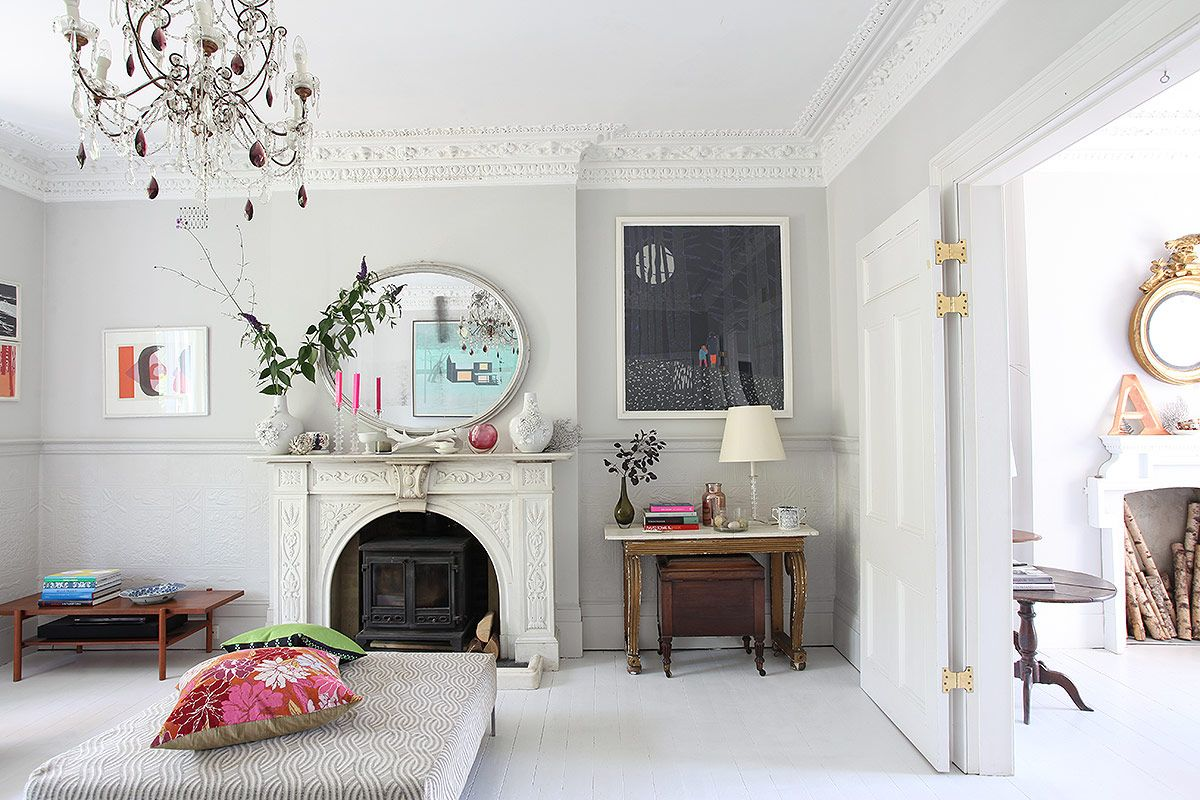 Large Victorian House In East Dulwich Knock Through Living Room With Period Features And Pretty Balco Living Room Door Living Dining Room Victorian Living Room