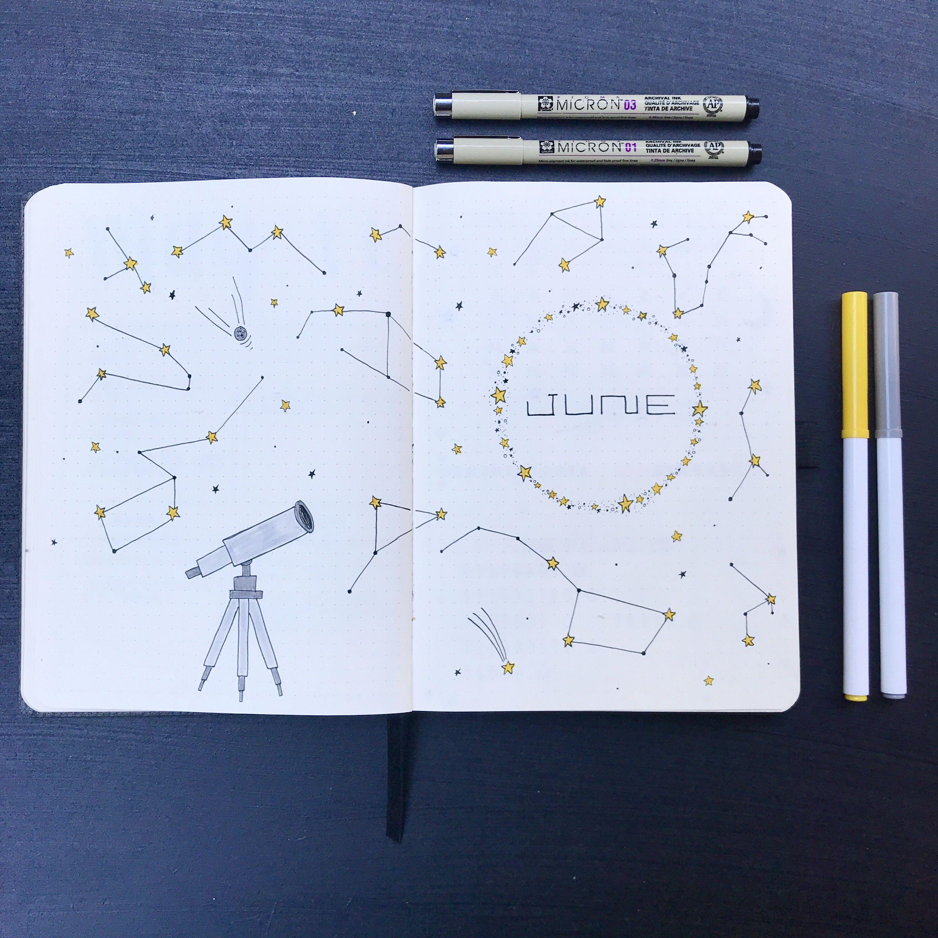 June 2018 Bullet Journal Set Up | CONSTELLATIONS | bullet