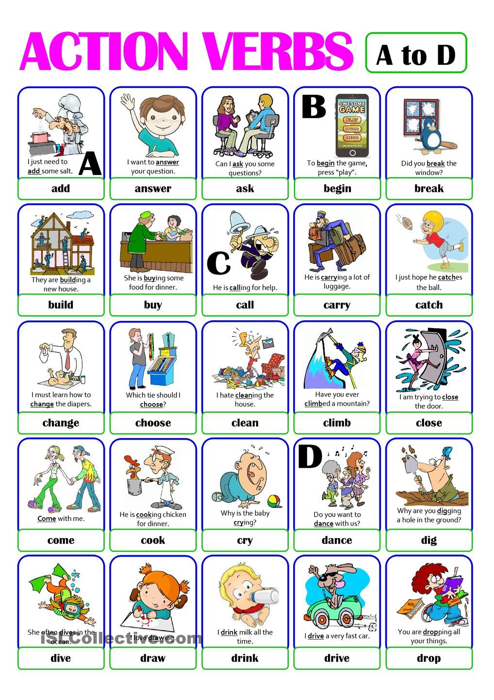 hight resolution of PICTIONARY - ACTION VERB SET (1) - from A to D   Action verbs
